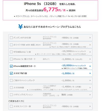 ソフトバンクiPhone5S 機種変更シュミレーション