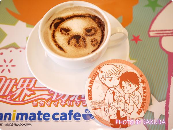 世界一初恋×アニメイトカフェ池袋店 横澤クマのラテアート(ココアのラテアート)