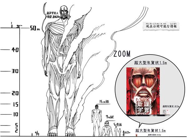 人気マンガ「進撃の巨人」と「スマホで年賀状2015」コラボ はがきサイズ10倍「超大型年賀状」