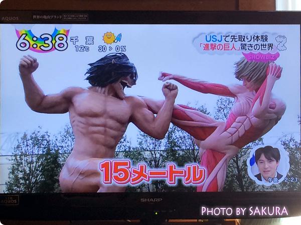 USJ 進撃の巨人・ザ・リアル 15m級巨人 エレン巨人VS アニ巨人 アップ(ZIP!より)