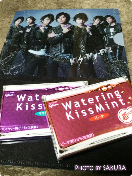 グリコ「Watering KISSMINT(ウォータリングキスミント)」2個とKis-My-Ft2(キスマイフットツー)クリアファイル
