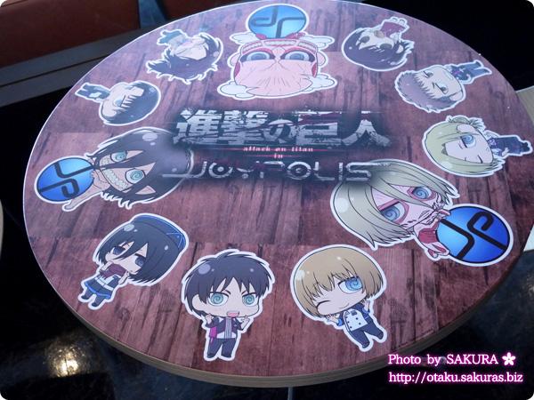 進撃の巨人×東京ジョイポリス コラボカフェ テーブル