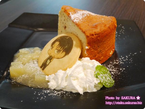 進撃の巨人×東京ジョイポリス コラボ フレームカフェ リヴァイ兵士長の紅茶ケーキ クリームもふんだん