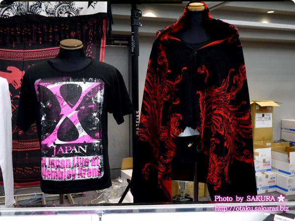 X JAPAN 2015 ツアーグッズ ウェンブリー・アリーナ公演発表記念グッズTシャツとフード付きビッグタオル