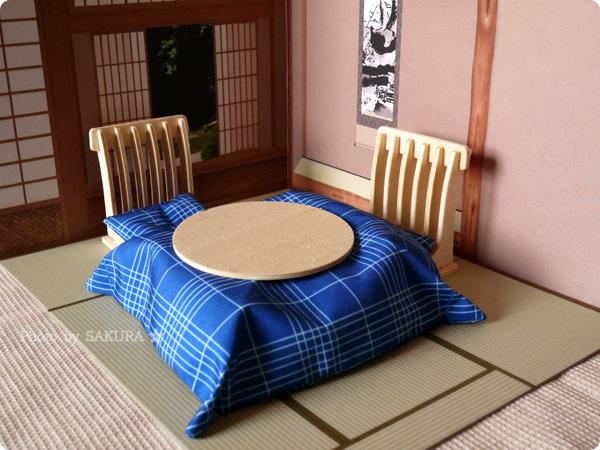 Can☆Do(キャンドゥ)のウッドクラフト用背景ボード「和室 床の間」と「ちゃぶ台と座椅子二脚」 「こたつ布団セット」