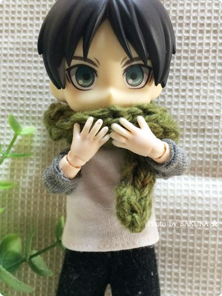 ダイソーオリジナル毛糸 ツイード(カーキ)でオビツ11マフラー編んでみた