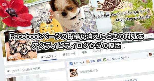 Facebookページの投稿が消えたときの対処法 アクティビティログからの復活