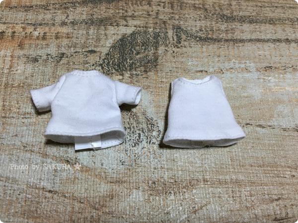 アゾンインターナショナル 1/12ベーシックタンクトップと1/12ベーシックTシャツの比較