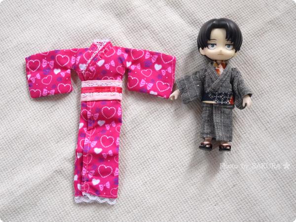 100円ショップ・ダイソー「エリーちゃん」服 浴衣セット ゆかたハートはオビツ11にはサイズが大きい