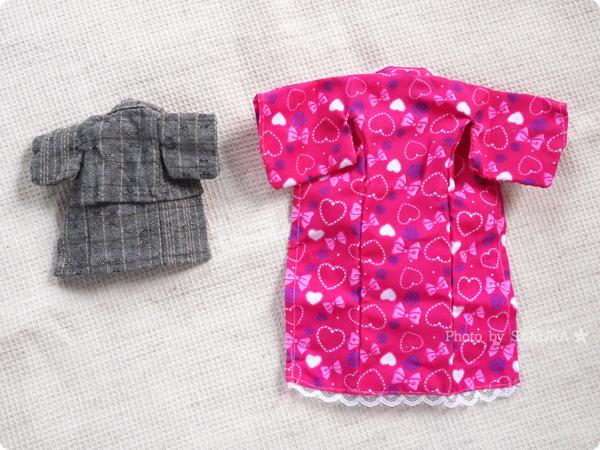 100円ショップ・ダイソー「エリーちゃん」服 浴衣セット ゆかたハートとオビツ11用浴衣のサイズ比較