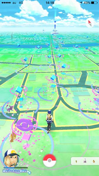 「春日部ポケモンさくらまつり」春日部駅東口駅前付近のポケモンGO画面