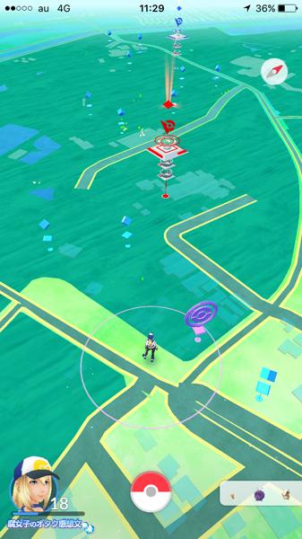 清水公園についた付近のポケモンGO画面