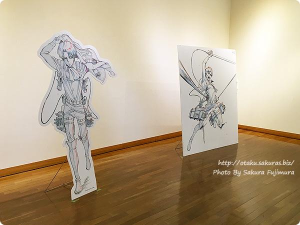 浅野恭司×WIT STUDIO原画展2016 古河街角美術館 写真撮影OK 進撃の巨人リヴァイとエレンパネル