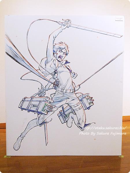 浅野恭司×WIT STUDIO原画展2016 古河街角美術館 進撃の巨人 エレン・イェーガー パネル 全体