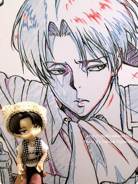 浅野恭司×WIT STUDIO原画展2016 古河街角美術館 進撃の巨人 リヴァイパネルとオビツろいどリヴァイ