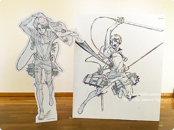 浅野恭司×WIT STUDIO原画展2016 古河街角美術館 進撃の巨人 エレン・イェーガーとリヴァイ パネルの並び替え その1