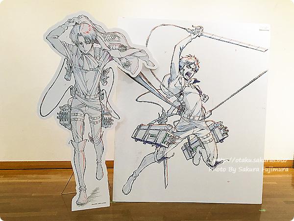 浅野恭司×WIT STUDIO原画展2016 古河街角美術館 進撃の巨人 エレン・イェーガーとリヴァイ パネルの並び替え その2