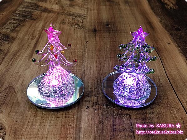 100円ショップダイソーで買ったクリスマスLEDガラスのツリー(各100円) 2種類 ライト点灯後