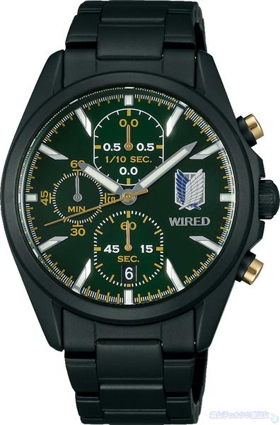 【数量限定】WIRED(ワイアード)×進撃の巨人コラボ腕時計 リヴァイ シグネチャー モデル (AGAT714) 全体