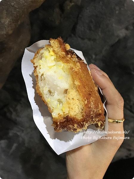 ユーリ!!! on ICE in ナンジャタウンコラボ フードメニュー じーちゃんの味!ユーラチカ絶賛、カツ丼ピロシキ 断面図