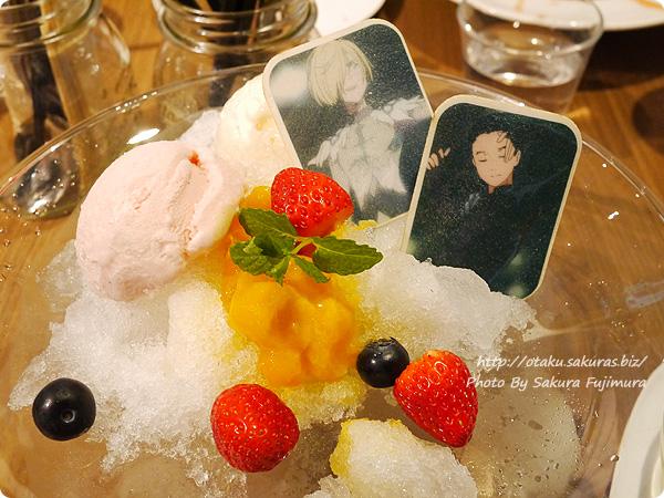 原宿・表参道OMOTESANDO BOX CAFE&SPACE「ユーリ!!! on ICE カフェ」 ユーリ!!! on かき氷~愛について~ シロップかける前