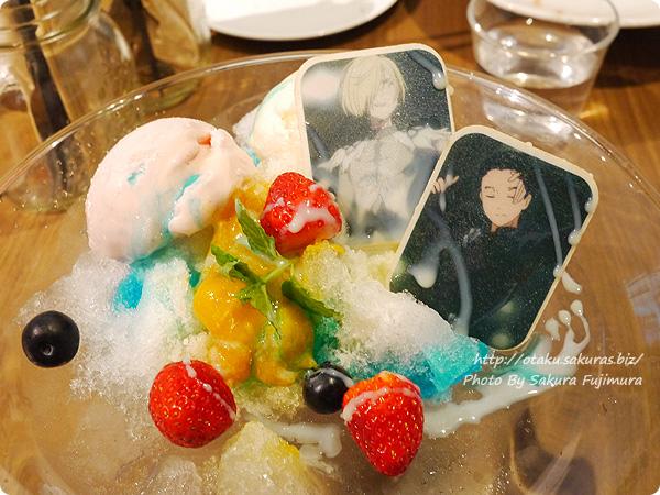 原宿・表参道OMOTESANDO BOX CAFE&SPACE「ユーリ!!! on ICE カフェ」 ユーリ!!! on かき氷~愛について~ シロップかけたあと