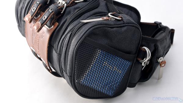 【進撃の巨人×TokyoOtakuMode】立体機動装置型ウエストバッグ「立体機動ポーチ4wayバッグ進撃の巨人モデル」 黒 側面はメッシュポケット