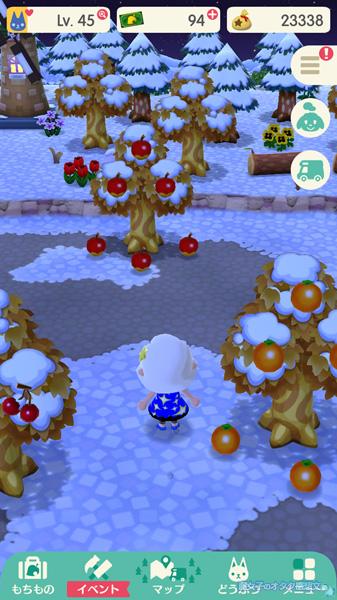 【ポケ森】地面と木にフルーツがたわわに実る<どうぶつの森 ポケットキャンプ>