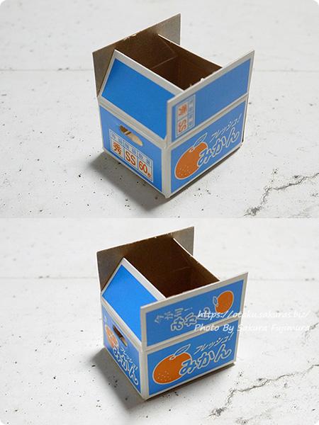 100円ショップCan☆Do(キャンドゥ)「箱つき付箋みかん」みかんのダンボール箱のミニチュア