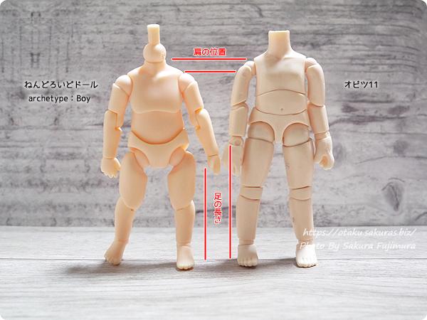 ねんどろいどどーる(ねんどーる)とオビツ11(オビツろいど)ボディ比較