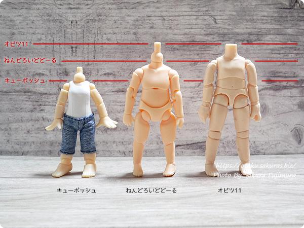 キューポッシュ、ねんどろいどどーる、オビツ11ボディ素体の身長差比較
