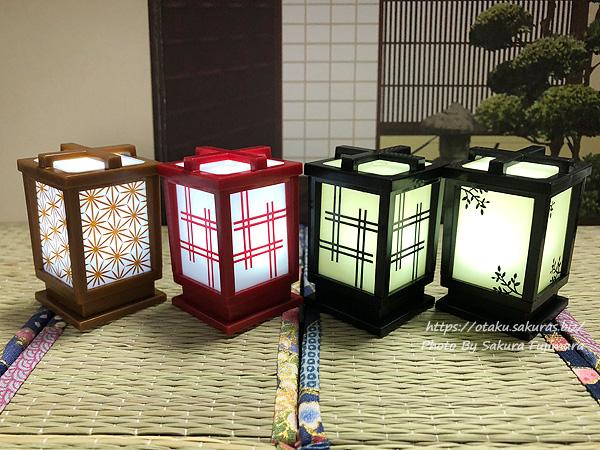 シャイング「LED行灯」ガチャガチャ 井桁/黒、木の葉/黒、麻の葉/茶色、井桁/赤の点灯後
