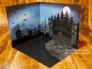 【100均キャンドゥ】背景ボード ハロウィン クラシック<墓地・書斎> 墓地の背景ボード